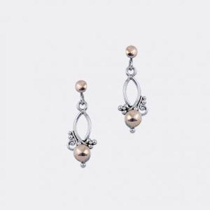 Image de Boucles d'oreilles pendantes en argent 925 et or de la Collection L'Aventurine
