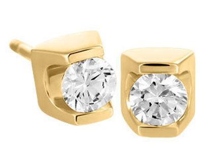 Image de Boucles d'oreilles en or jaune avec diamant