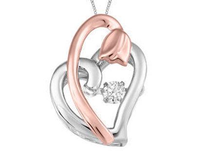 Image de Collier coeur et tulipe en or blanc et rose avec diamant dansant