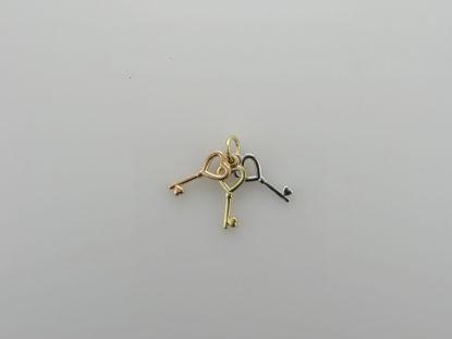Image de Pendentif clé en or jaune, rose et blanc