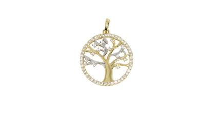 Image de Pendentif arbre de vie en or jaune et blanc