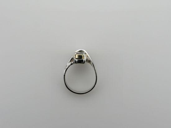 Image sur Bague exclusive en or blanc et jaune 10KT avec une ammolite