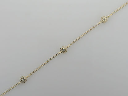 Image de Bracelet fleurs en or jaune avec zircon cubique